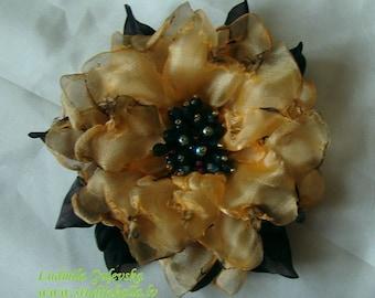 Handmade light orange organza flower brooch, flower clip & pin