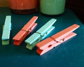 Clothespins: Set of 4 in Coral & Mint