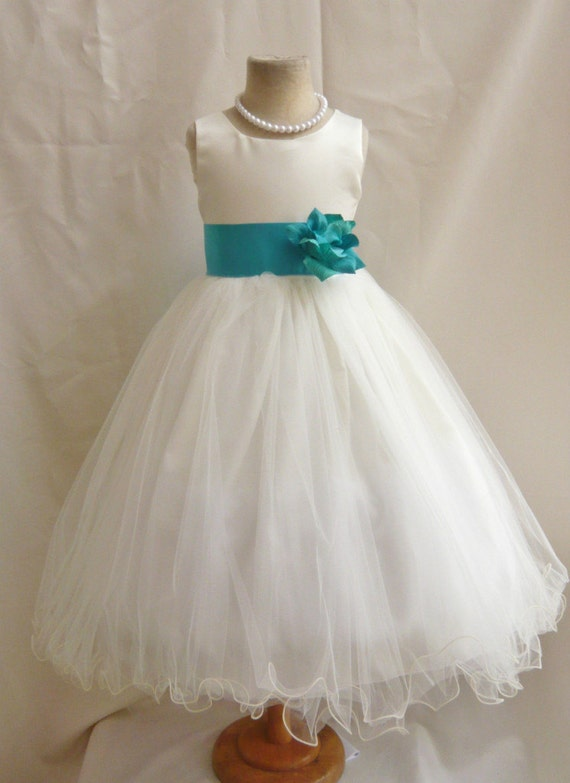 Flower Girl Dresses IVORY with Teal FD0FL by NollaCollection