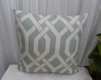 Elegant Sage Colored Pillow Cover in a Modern Geometric Design