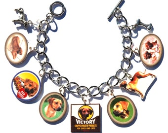 Handmade Rhodesian Ridgeback Dog Charm Bracelet Vintage Altered Art Label Pewter Charms