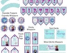 Instant Download Frozen Birthday Party decor pack!  JPEG 300 dpi Printable DIY Frozen Anna Disney Elsa Disney's frozen movie Olaf Frozen