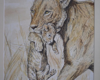 An original watercolour and ink painting - 'Protected' Lioness & her cub