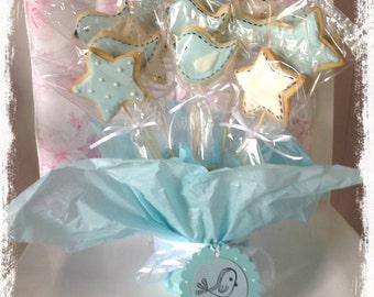 boys baby shower cookie pops 1 dozen