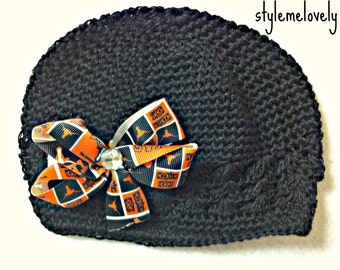 Texas Longhorns Baby Girl Bow Crocheted Hat