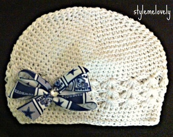 Dallas Cowboys Baby Girl Bow Crocheted Hat