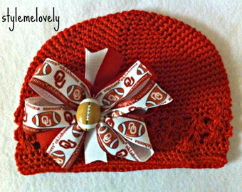 Oklahoma Sooners Baby Girl Boutique Bow Crocheted Hat