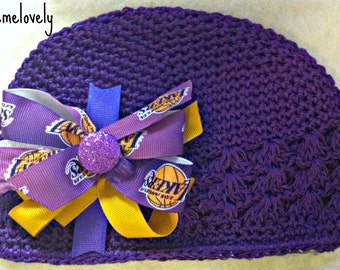 Los Angeles Lakers Baby Girl Boutique Bow Crocheted Hat
