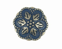 Metal Buttons - Nickel Silver Peperomia Leaves Metal Shank Buttons in Blue Color - 17mm - 11/16 inch - 6 pcs