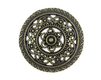 Metal Buttons - Metal Lacework Filigree Antiqued Brass Metal Shank Buttons - 30mm - 1 3/16 inch - 6 pcs