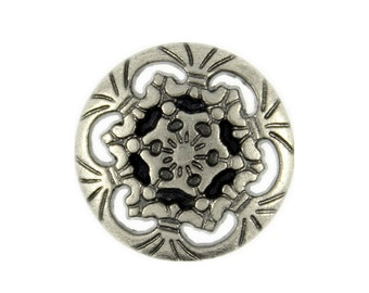 Metal Buttons - Openwork Snowflake Nickel Silver Metal Shank Buttons - 15mm - 5/8 inch - 6 pcs