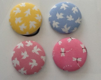 50mm covered button hair band, ponytail hair tie. Bird or dragonfly print