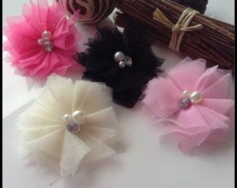 50mmTulle flower alligator hair clip. Pink hair accessories, black hair clip. 45mm alligator clip with non slip grip