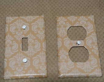 Switch plate cover - Brown and tan damask