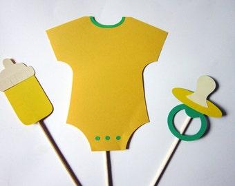 Yellow Boy or Girl Baby Shower Centerpiece Sticks - Onesie, baby bottle, paci