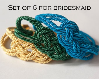 Sailor knot silk bracelet - bridesmaids / bridal shower gift set (set of 6 bracelets!)