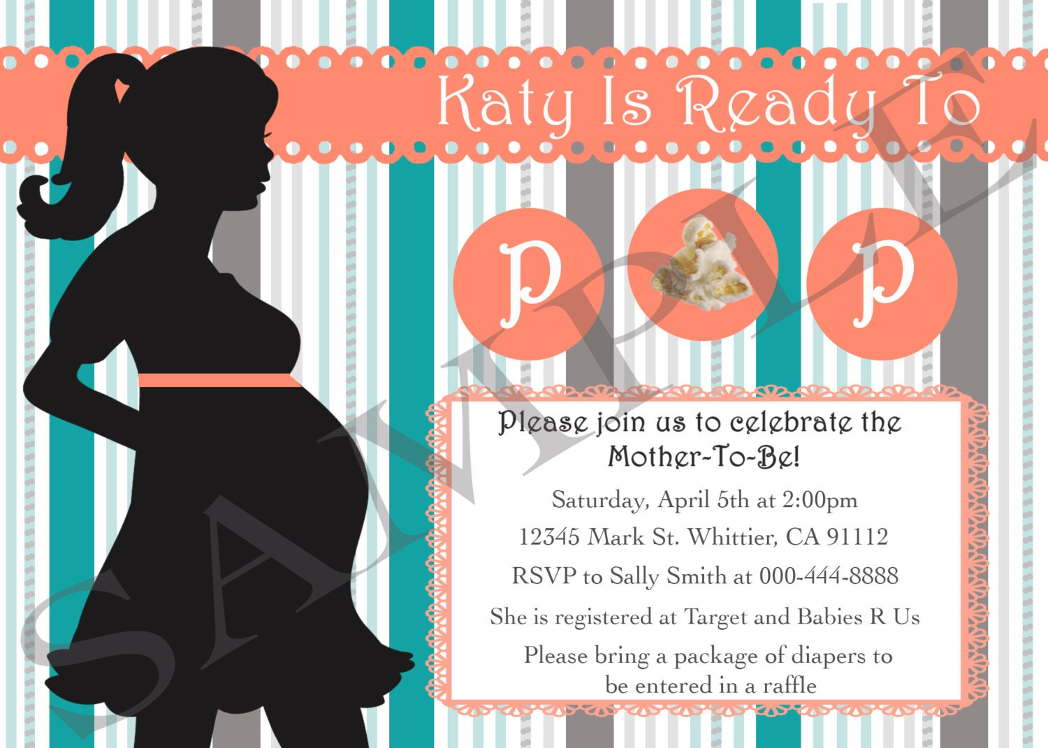 ready to pop baby shower invitation digital