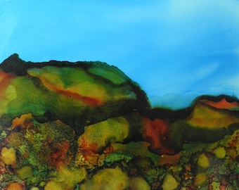 Ink Painting 5x7 landscape OOAK on yupo paper alcohol ink # 125