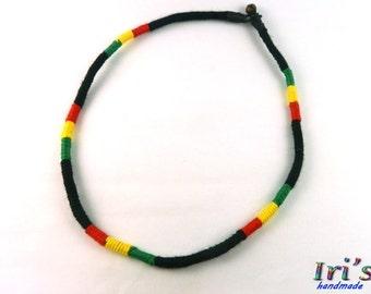 Rasta Necklace,Hippie Necklace,Bob Marley Necklace,Wrapped yarn necklace