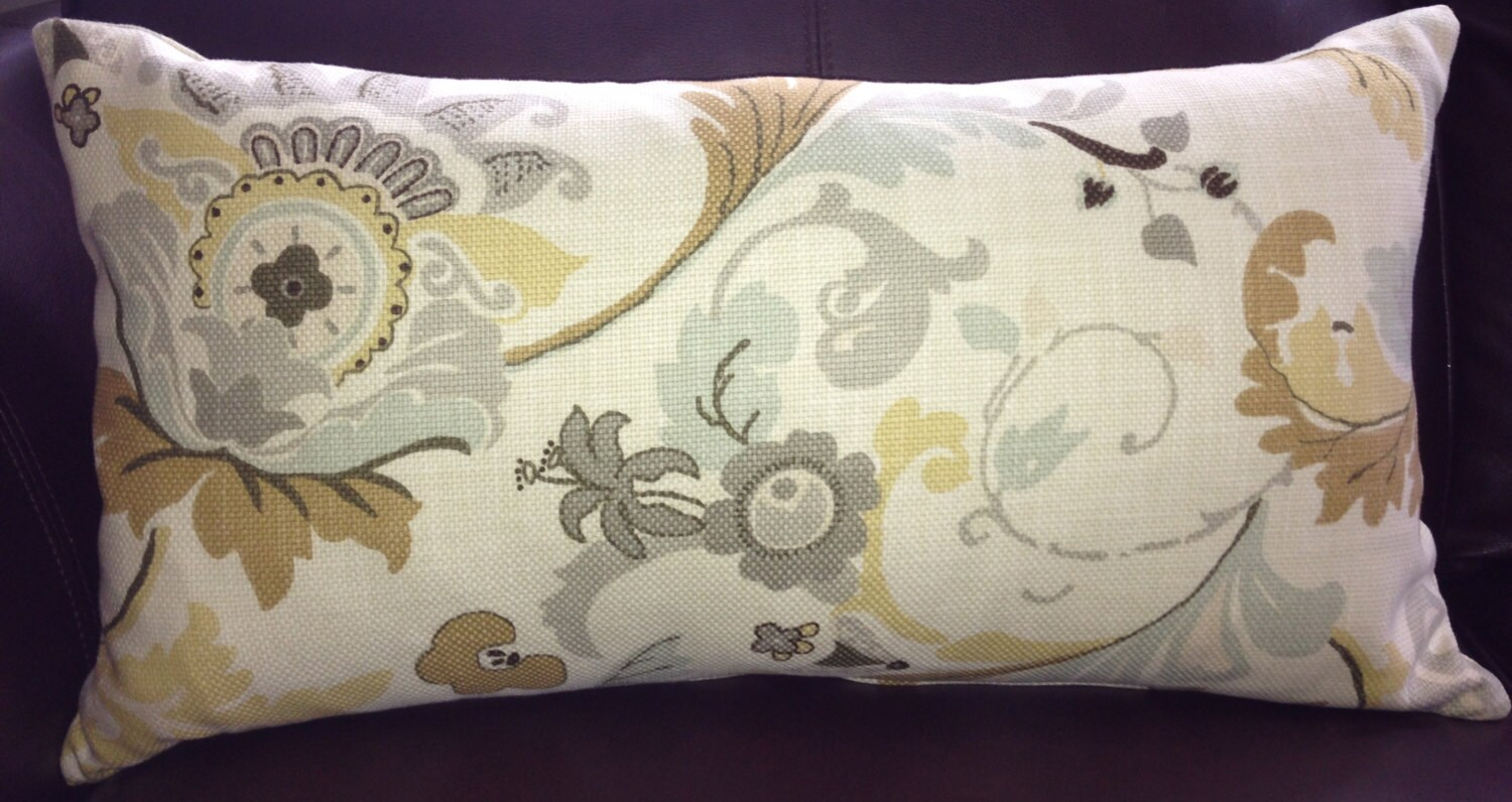 Gold and Grey Floral Linen Decorative Pillow Cover 14x24