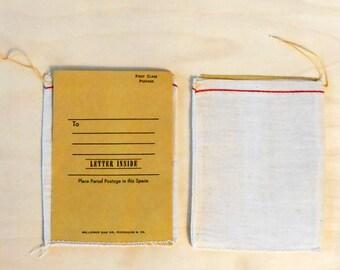 Vintage Millhiser Bag & Co. Tobacco Drawstring Bag with Manila Mailing Envelope Attached