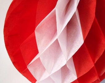 Vintage Red & White Striped Large Paper Honeycomb Pom Round 11 inch Tissue Paper Decorations