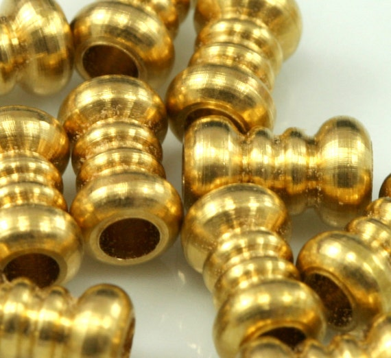 45 Pcs Raw Brass Cylinder 10x6 mm (hole 2,9 mm) industrial brass Charms,Pendant,Findings spacer bead bab3