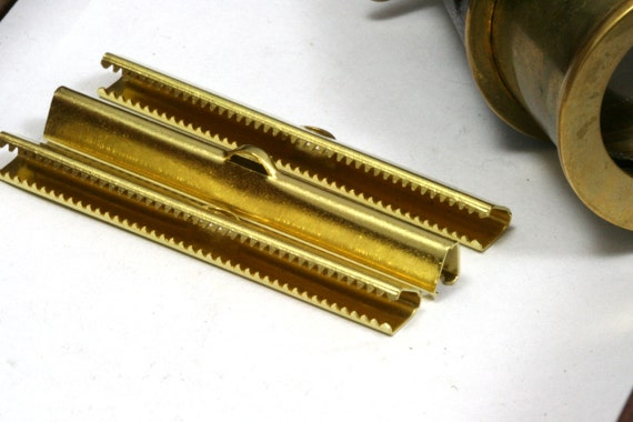 10 pcs 6x50 mm Raw Brass Ribbon Crimp Ends, Raw Brass Ribbon Crimp End, Ribbon Crimp Ends cap, with loop Findings R032-6B