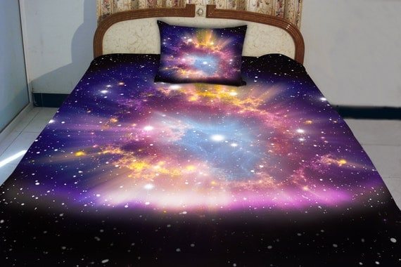 Galaxy quilt cover galaxy duvet galaxy sheets space by for Outer space quilt