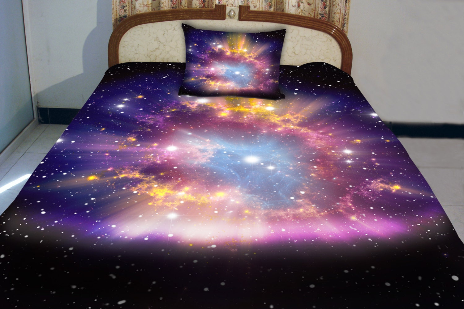 Galaxy quilt cover galaxy duvet galaxy sheets space by for Spaceship quilt