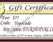 Gift Certificate Personalized For Your Needs