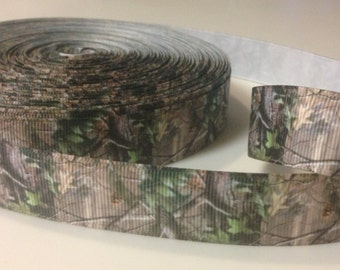 Mossy Oak Camo Real Tree Hair Bow Ribbon 7/8 inch - 1 Yard- grosgrain