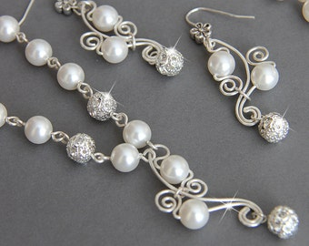 Bridal Jewelry Set, Swarovski Pearl Bridal Jewelry Set, Necklace Earrings Bracelet SET, Wire  art. e37-b18-n24