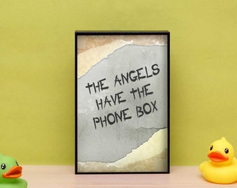 The angels have the phone box print in a eco friendly box frame