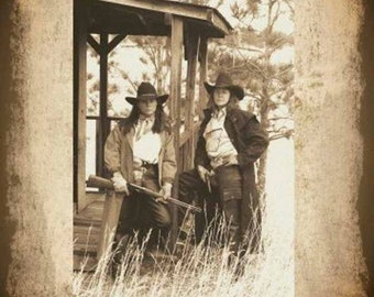 Vintage Wanted Cowgirls Poster, Sepia, Rustic Western Art