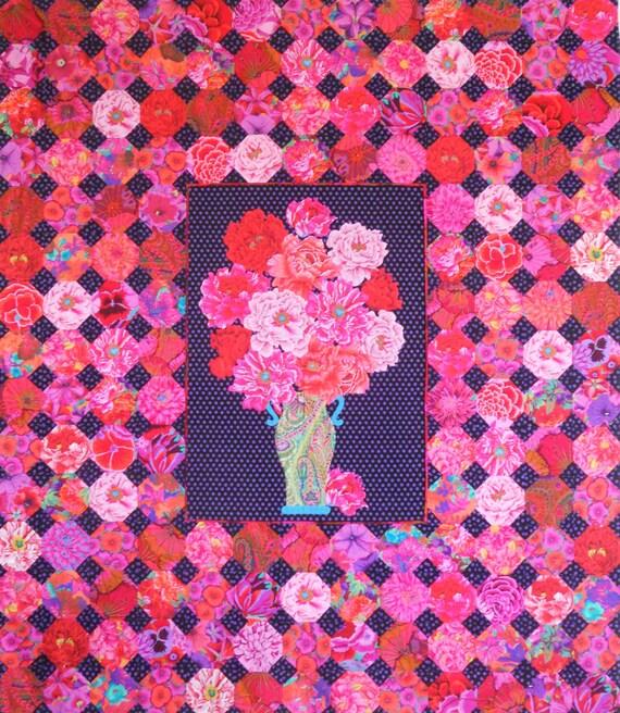 "PEONY MEDALLION Quilt Kit 72"" x 82""  - Fabrics by Kaffe Fassett  and Philip Jacobs fabrics"