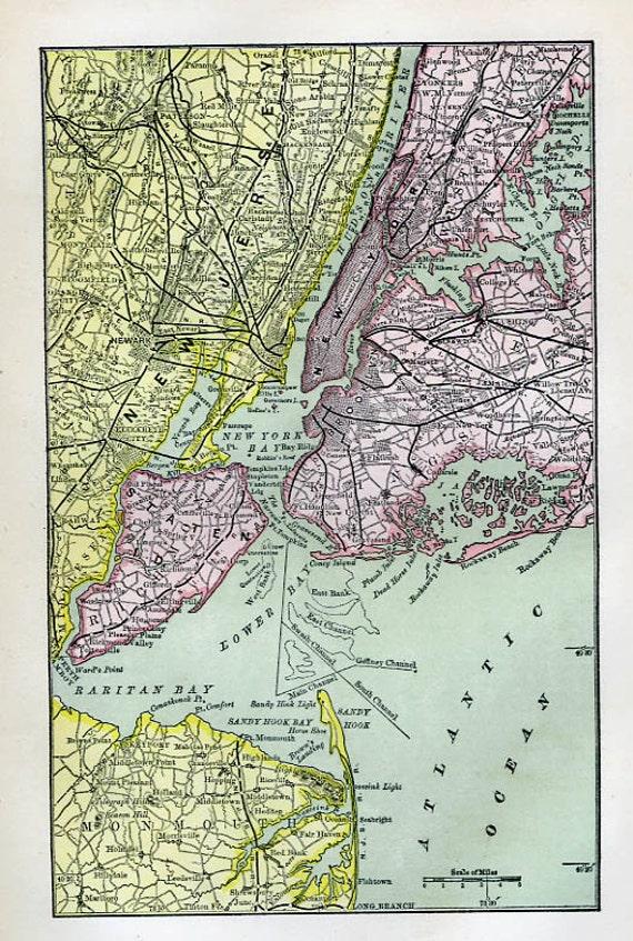 Print Of MapNew York Harbor 1873