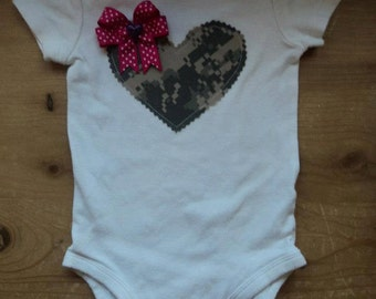 ACU Heart Applique Baby Bodysuit or Shirt