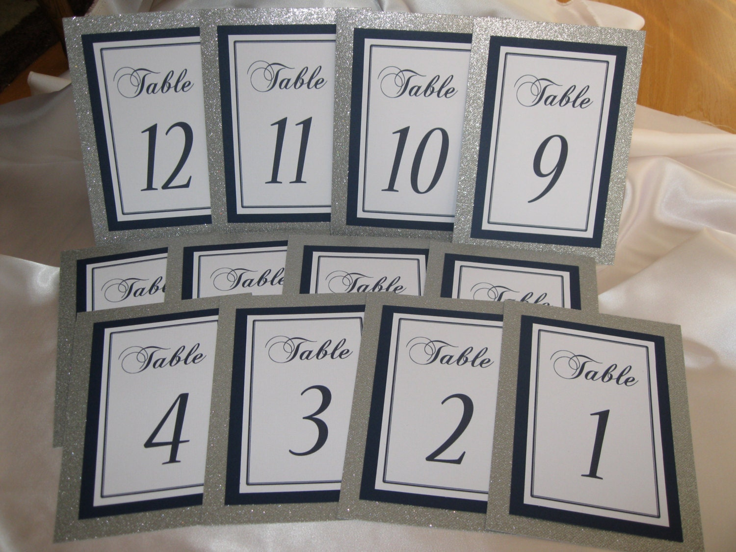 Silver glitter navy blue wedding table numbers set of 12 for Table numbers