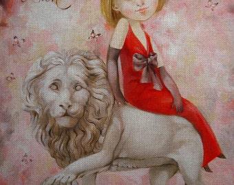 "Needlepoint canvas ""Lady and Lion.Leo"" (ADN007)"