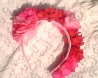Pink and red flowered headband