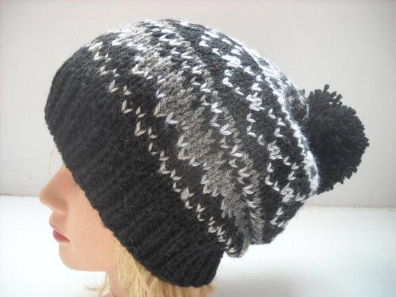 beanie hat hand knit geometric pattern pom pom #73