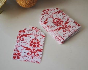 Christmas gift tags,25 Red damask gift tags damask paper tags ,bridal shower, favor tags,wedding tags,red floral gift tags