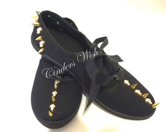 Spike plimsolls / skull plimsolls / gold spikes / spiked shoes / black plimsolls / womens shoes / black spike sneakers /