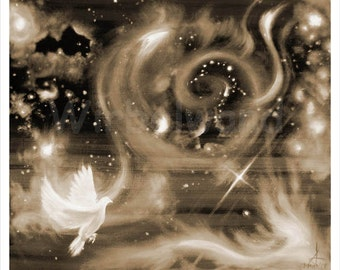 Print of an acrylic and oil painting - Starry Mist (28 x 24 inch) Sepia colours