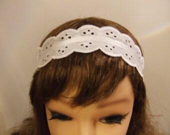 White Cotton Lace Headband, Stretchy Headband,white Headband.Vintage crochet lace Bohemiannheadband