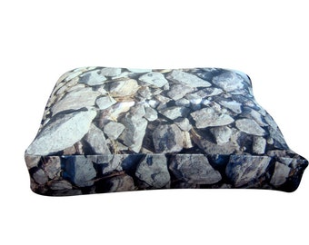 Hard rocks rectangle dog bed. Dogzzzz tired of the same old plaids and stripes brings the rugged outdoors in and makes it fun.