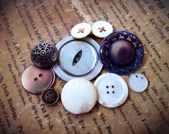 Well Worn MOP and Metal Button Soup. Vintage and Antique Button Collection Mixed Lot of 10