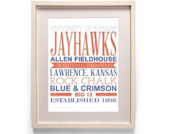 University of Kansas Jayhawks Subway Basketball Typography Print [8x10, 11x14]