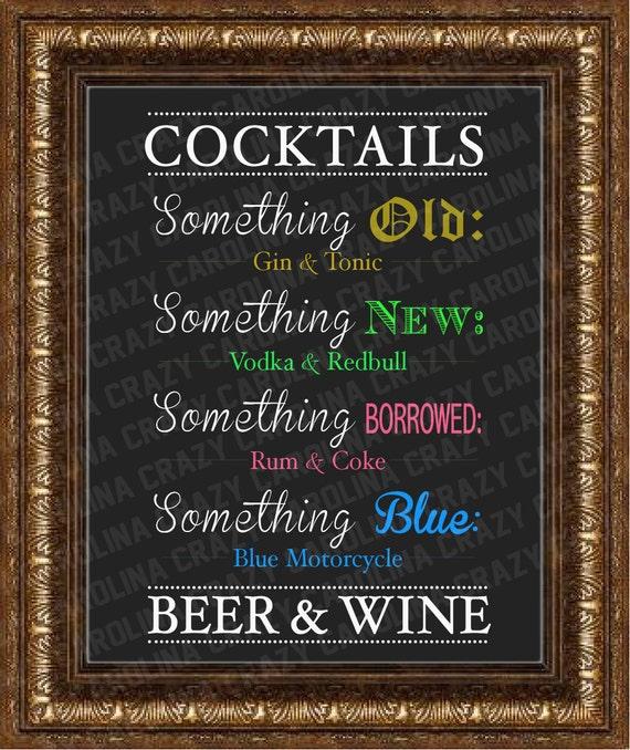 Items Similar To 1 Digital Drink Menu File For Wedding